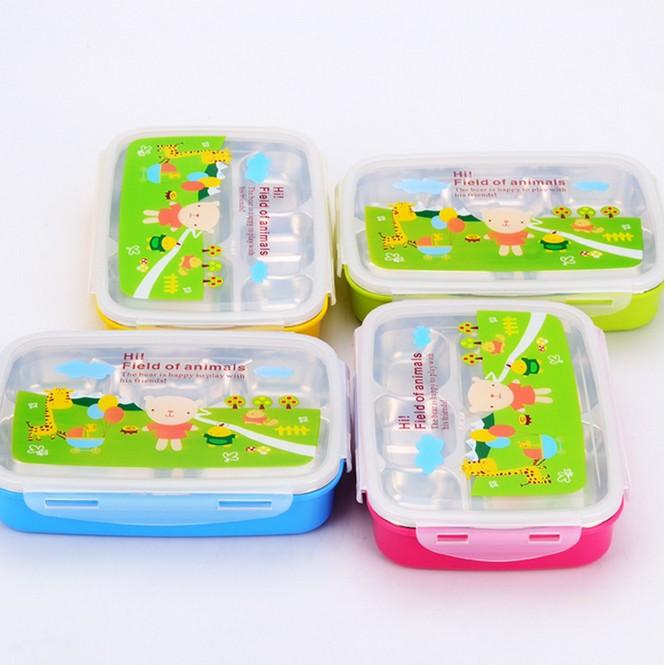 304 不銹鋼卡通快餐盤兒童帶蓋防燙保溫快餐盒密封學生分格便當盒