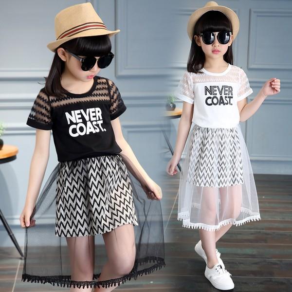 女童套裝夏裝2017 中大童兒童 短袖網紗裙子兩件套小孩衣服