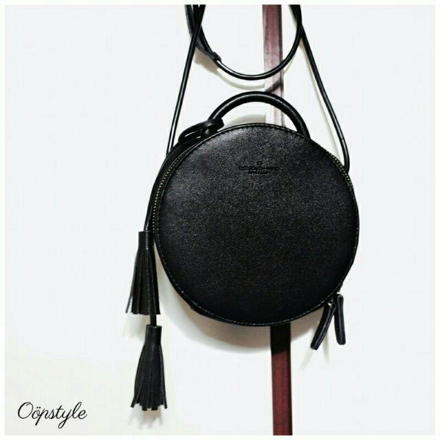 0 öpstyle 黑色流蘇簡約 感圓包側背單肩背手提包小包 包包韓系韓國風格小物包化妝包