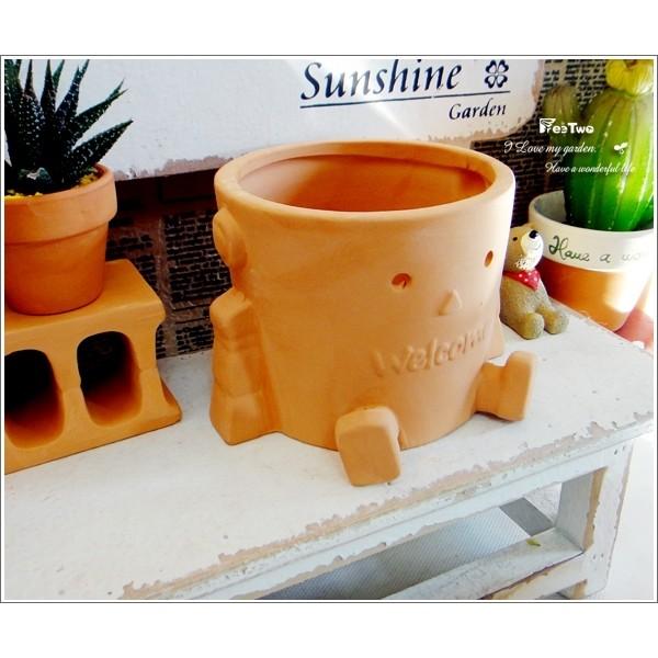 素燒花盆:俏皮風:圓形機器人燒陶盆