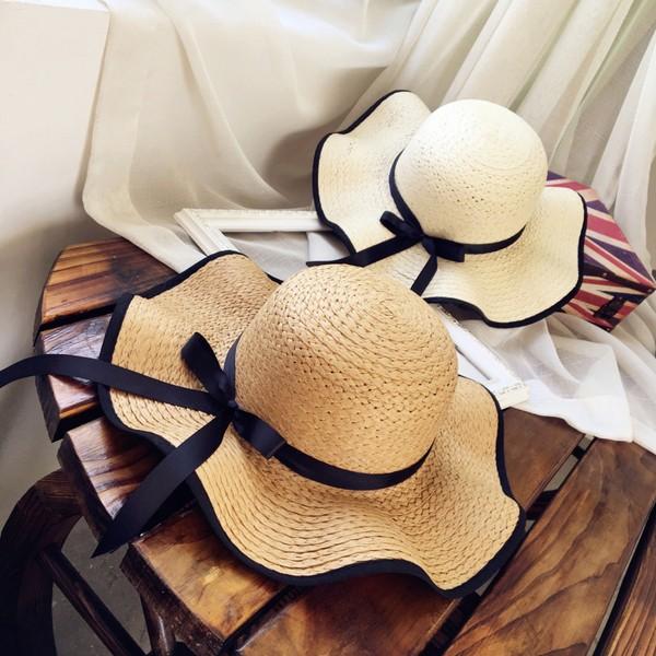 SH01 韓國度假風夏日防曬蝴蝶結大帽簷草帽海島南洋沙灘海灘遮陽帽