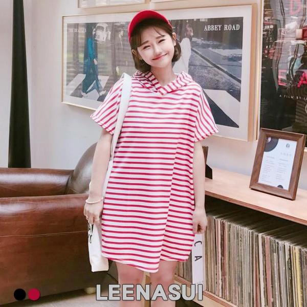M016017 連帽條紋寬鬆休閒長版上衣2 色