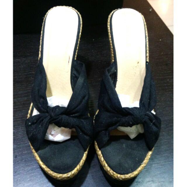 Wink 交叉編麻高跟涼鞋楔型鞋