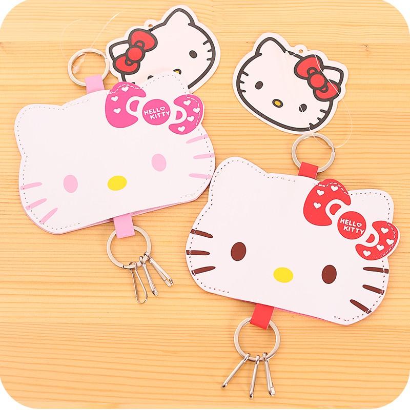Hello kitty 皮革鑰匙收納包抽拉式可伸縮鑰匙防刮皮革鑰匙套吊飾收納夾收納圈鑰匙送