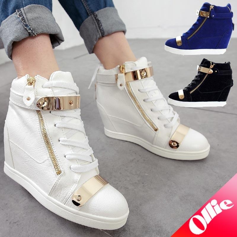 Ollie  大 ~L1186 ~麂皮增高鞋金屬裝飾金邊綁帶增高鞋楔型鞋拉鍊裝飾皮革拼接