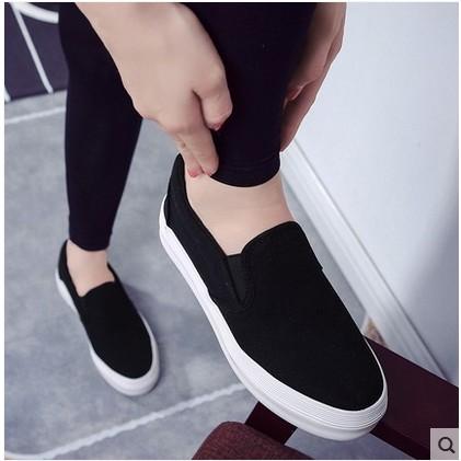 2016 厚底懶人鞋女學生一腳蹬帆布鞋純色樂福鞋板鞋休閒女鞋子
