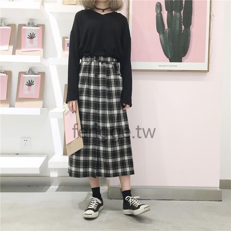 套裝百搭簡約純色V 領套頭長袖上衣韓系單排扣格子A 字半身裙