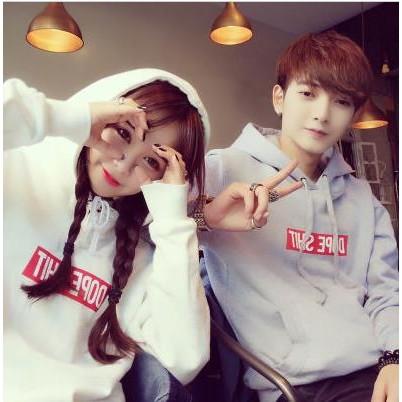 韓國原宿bf 風字母套頭帽衫連帽學生衛衣女加絨外套班服情侶裝