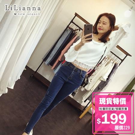 ~3197 ~~ 預~牛仔褲 磨破中高腰單寧牛仔長褲~Lilianna 莉莉安娜