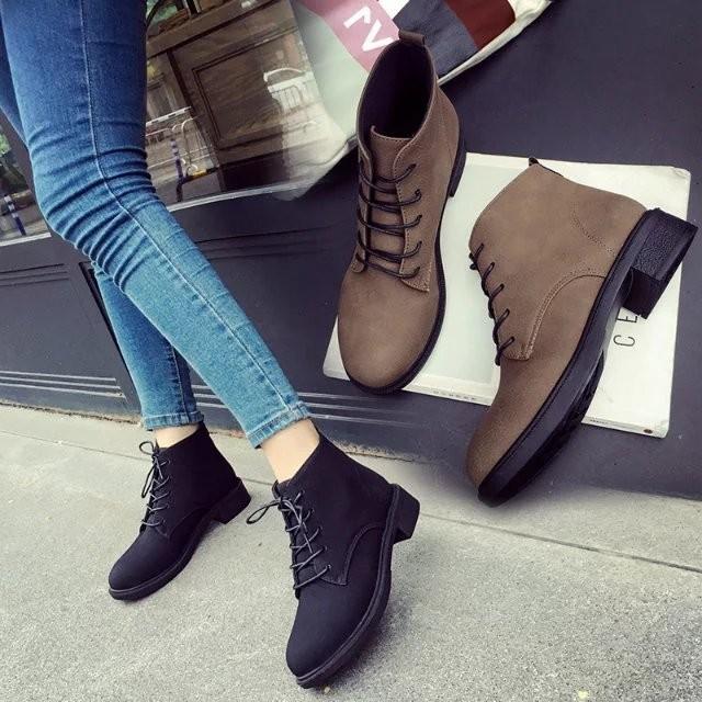 布洛克英倫風復古平底馬丁靴磨砂皮圓頭系帶高幫女鞋短靴女靴子踝靴短靴雪靴厚底高跟靴子秋天 馬