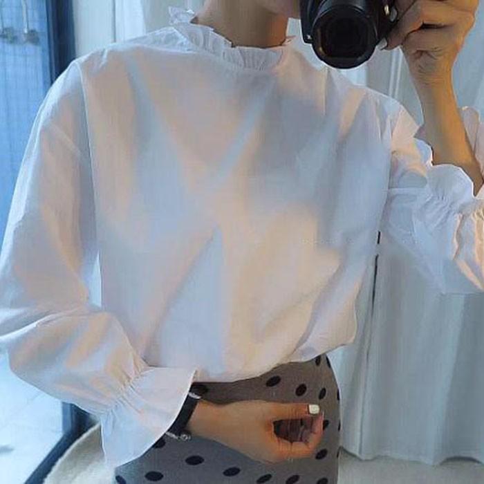 百搭小清新荷葉花邊領顯瘦九分荷葉袖打底白襯衫上衣