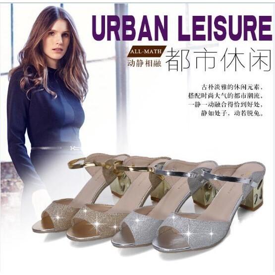 正韓之都 海外  100 實拍A7 SEVEN 2016  女式涼鞋中跟粗跟魚嘴一字拖鞋低