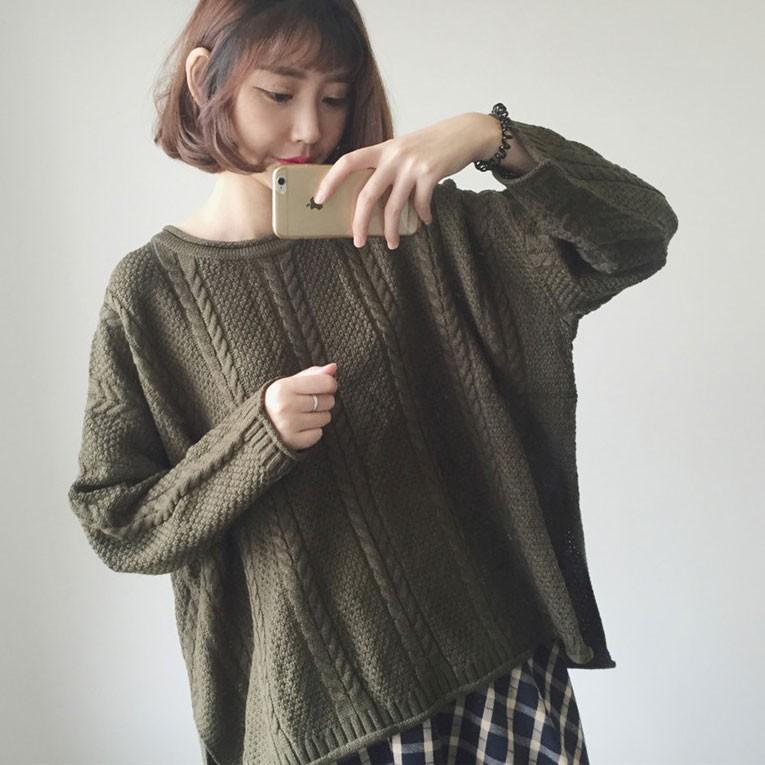 寬鬆麻花捲邊氣質毛衣寬鬆版型隨興小清新