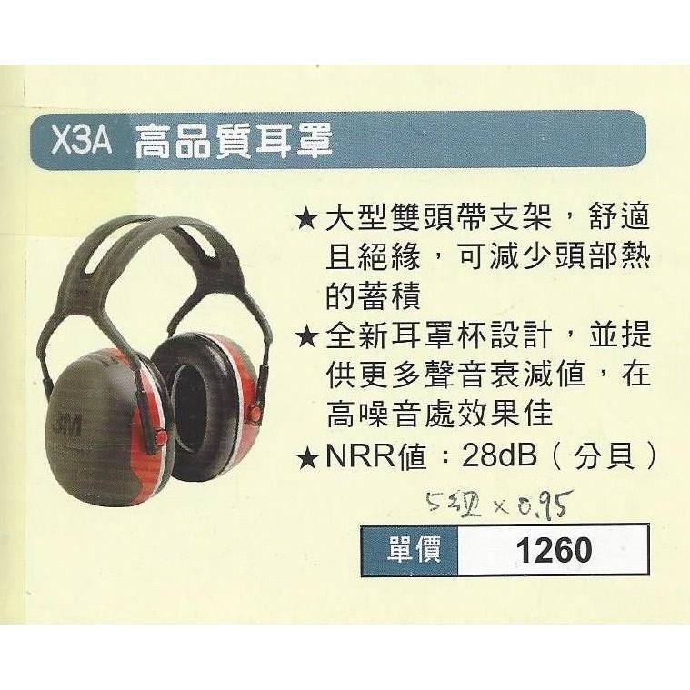 ㊣伊藤企業社㊣→附發票←3M X3A 高階耳罩豪華型防噪音耳罩3M H3A 防音耳罩NRR