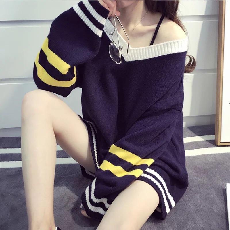 性感 街頭 風V 領寬袖撞色條紋長版針織上衣洋裝vii co 韓妞韓風 風