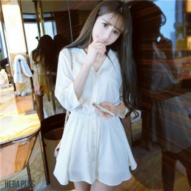 氣質雪紡修身連衣裙顯瘦襯衫A 字裙休閒純白