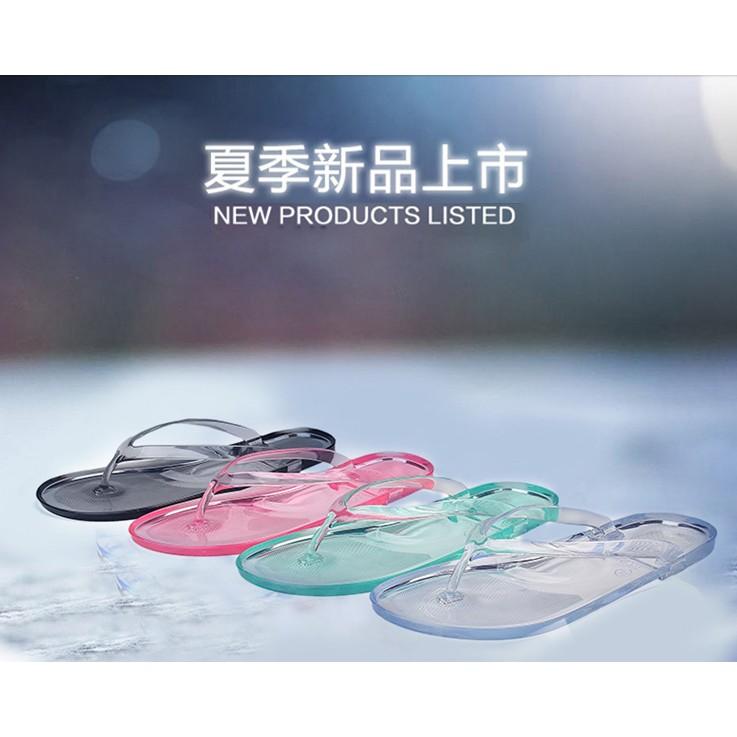 人字拖夾腳拖女鞋果凍透明沙灘鞋防滑水晶浴室拖鞋塑膠凉拖4 色