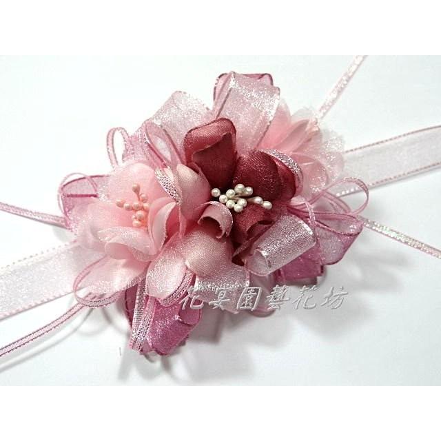 ~花宴~~精緻典雅手挽花豆沙粉紅~結婚新娘手腕花伴娘可加價裝LED
