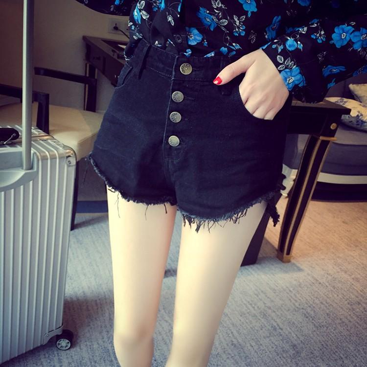 ATF 高腰超顯瘦單排釦不修邊鬚鬚弧線長腿款丹寧牛仔短褲黑藍2 色25 31 腰