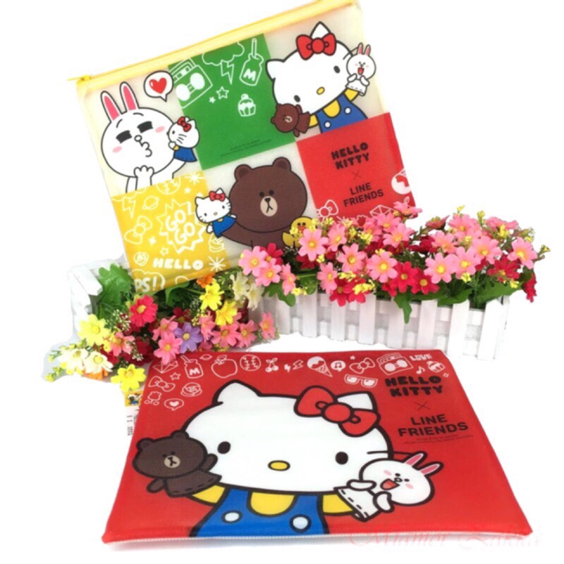 Hello Kitty X LINE FRIENDS 磨砂網格袋大✨資料袋✨開學季