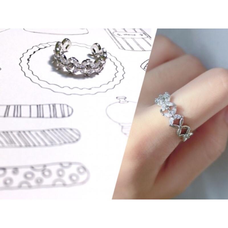 !韓國水晶鑽鋯石小花交叉戒指開口可調節