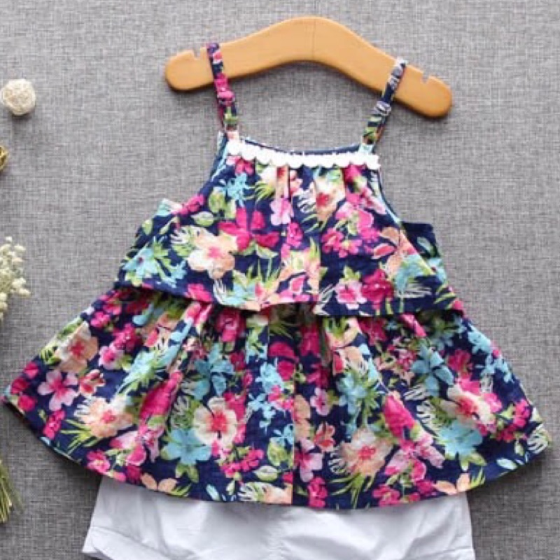 ⛱ ⛱ 女寶寶夏裝碎花蕾絲邊吊帶連衣裙裙子
