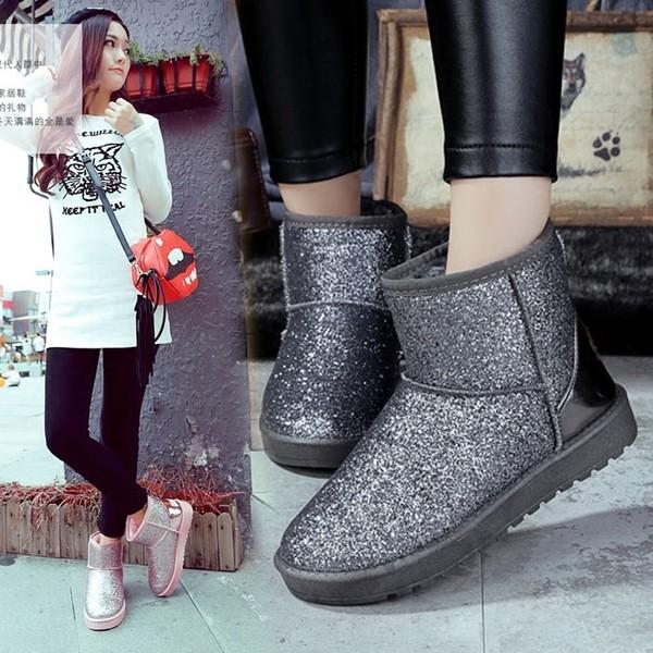 2016 秋 女靴亮片短筒靴子平底学生雪地靴加厚棉鞋加绒防滑女鞋