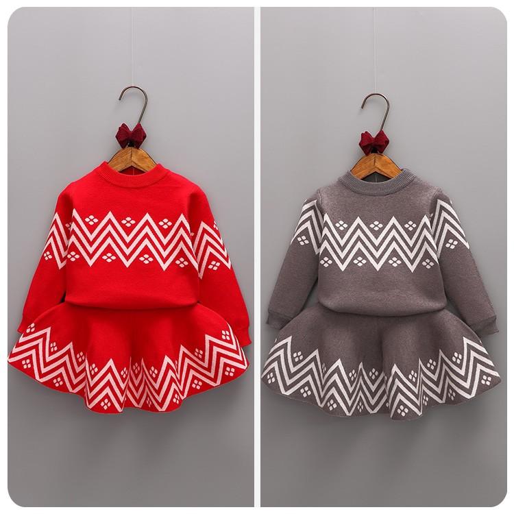 新品特惠2016  2 件套裝女童女寶寶毛衣針織上衣短裙 加