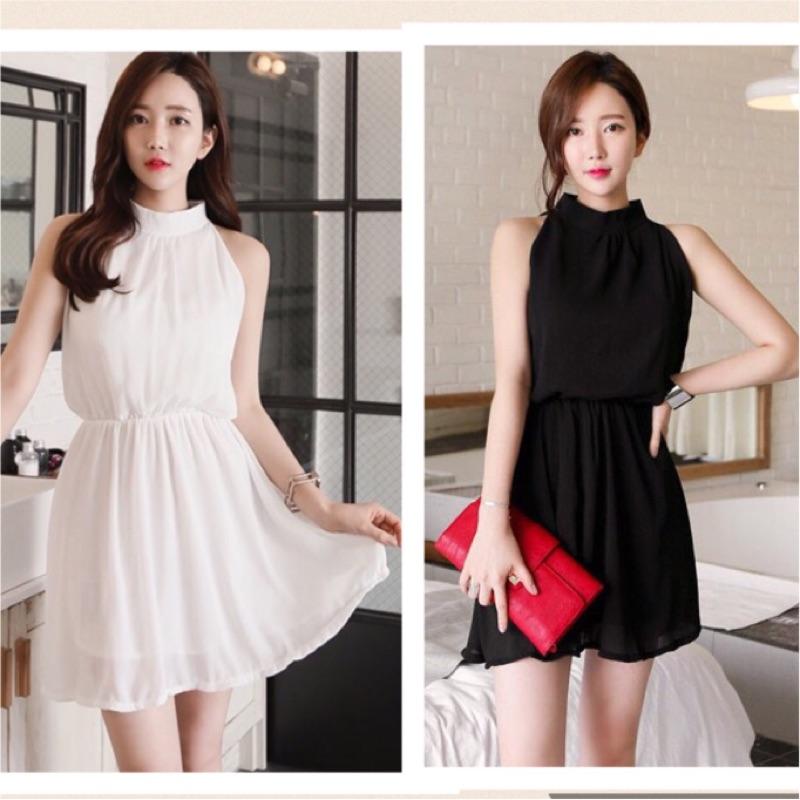 韓國 2017 輕熟女性感~純色雪紡彈力腰身無袖雪紡洋裝小洋裝連身裙美腿氣質性感伴娘服女神