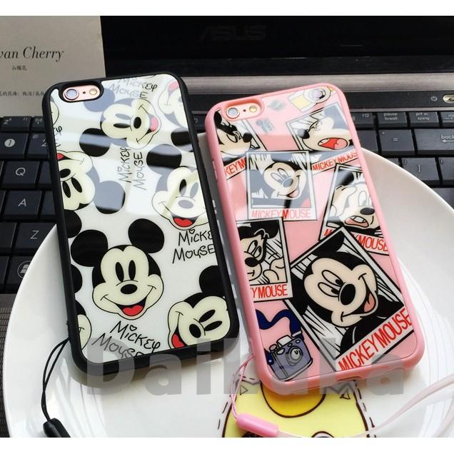 iphone 情侶款黑粉米奇亮面送掛繩手機殼手機套保護套軟殼T202