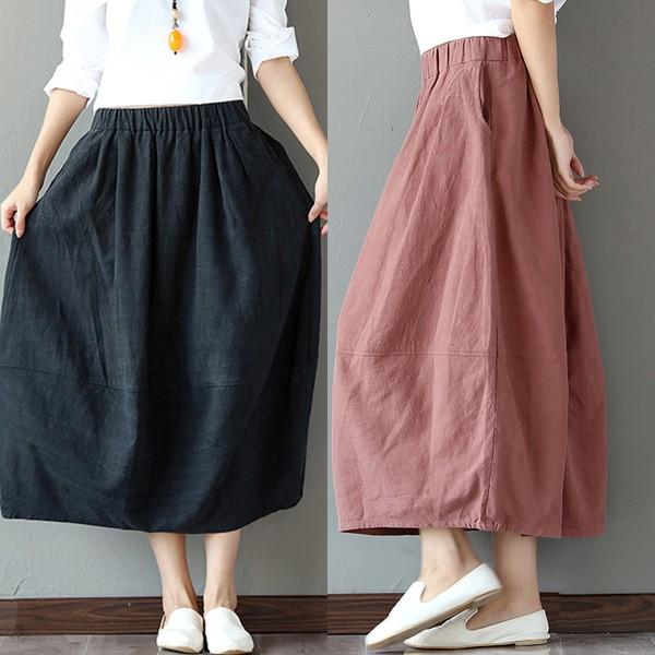 Y130449 款新品素雅寬鬆百搭文藝長裙純色褶皺親膚棉麻複古花苞裙