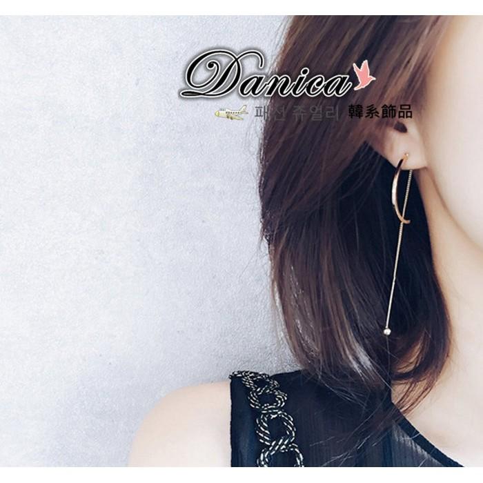 耳環 韓國 氣質甜美名媛優雅金屬感弧形金屬球球後掛2 用耳環K90911 Danica 韓