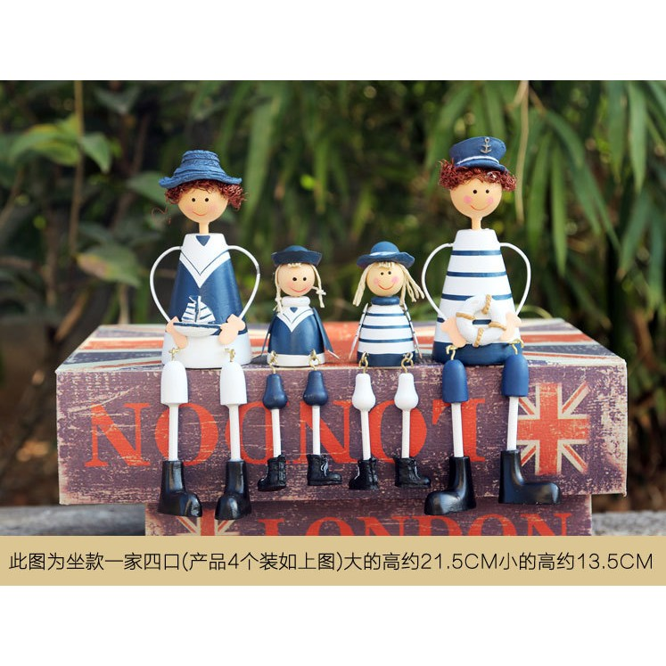 地中海風格海軍吊腳娃娃 家居裝飾擺件結婚