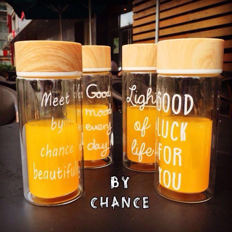 日系復古 高硼硅耐熱玻璃280ml 英文字母木紋蓋透明玻璃杯雙層玻璃隔熱杯隨手杯