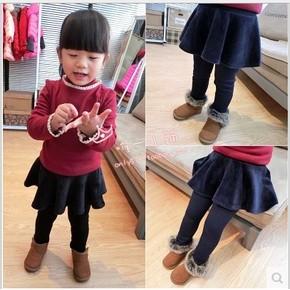 2016 秋  女童中小童寶寶加絨裙褲保暖拉絨傘裙
