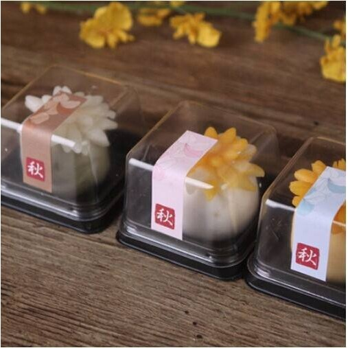 diy 烘焙包裝月餅托80 克加厚款月餅糕餅蛋黃酥廣式月餅和菓子鳳梨酥雪莓娘上下蓋塑膠盒吸