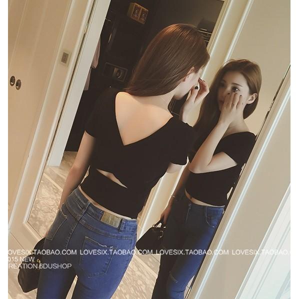 2016 性感露臍針織短袖高腰T 恤短款交叉露背針織上衣4 色黑天藍桔白