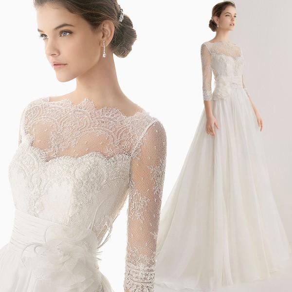 婚紗禮服2016 韓式簡約蕾絲新娘顯瘦齊地雙肩一字肩拖尾婚紗女