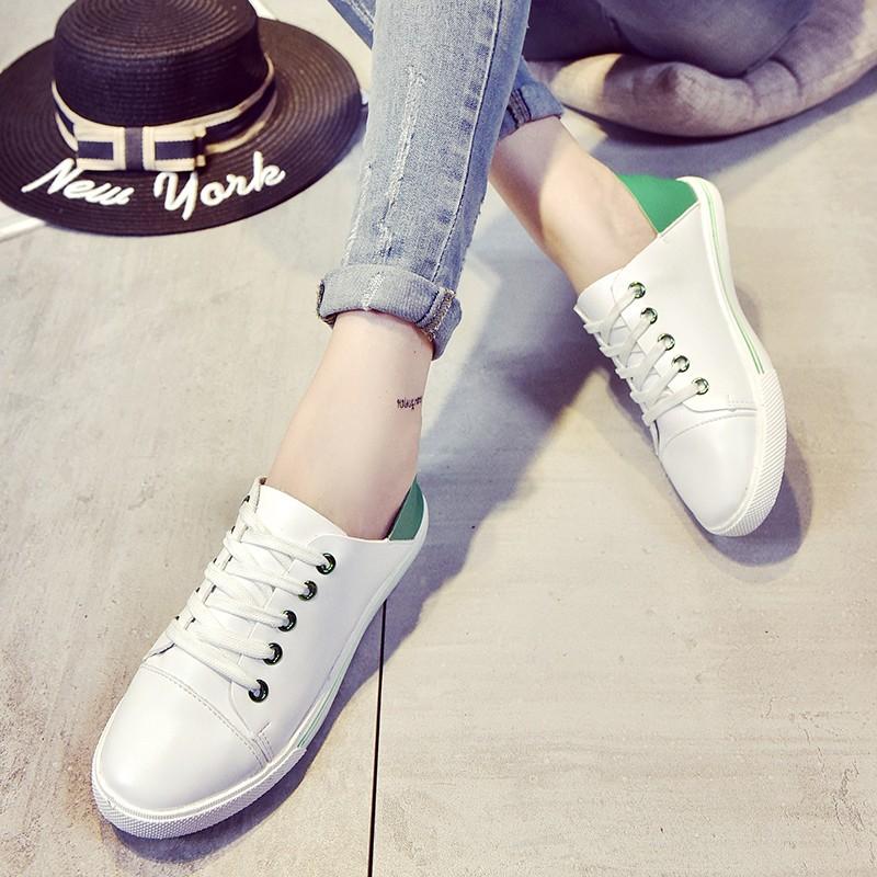 小白鞋平底休閒板鞋兩穿透氣鞋學生百搭系帶女單鞋潮高跟鞋單鞋豆豆鞋涼鞋懶人鞋厚底鞋