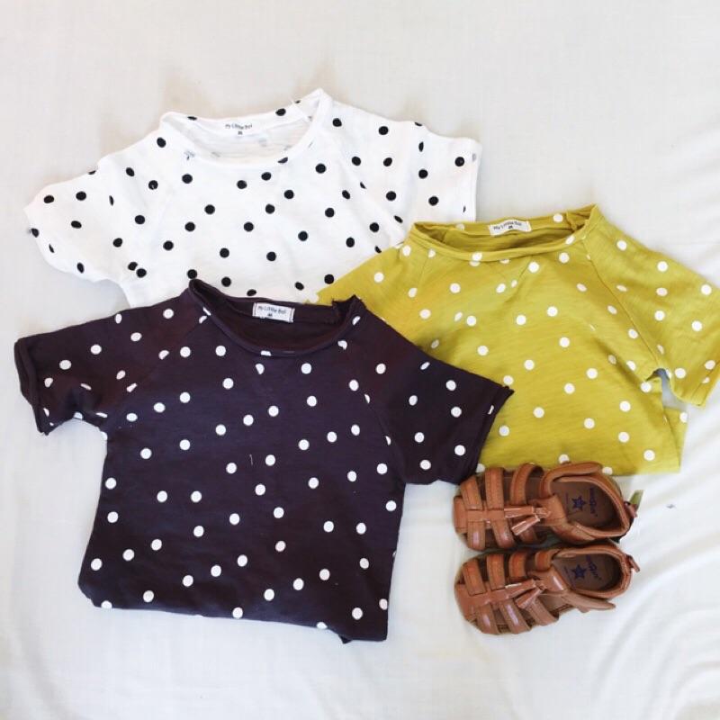 蓁誠 女童男童兒童寶寶小童可愛休閒寬鬆波點點點短袖圓領T 恤上衣