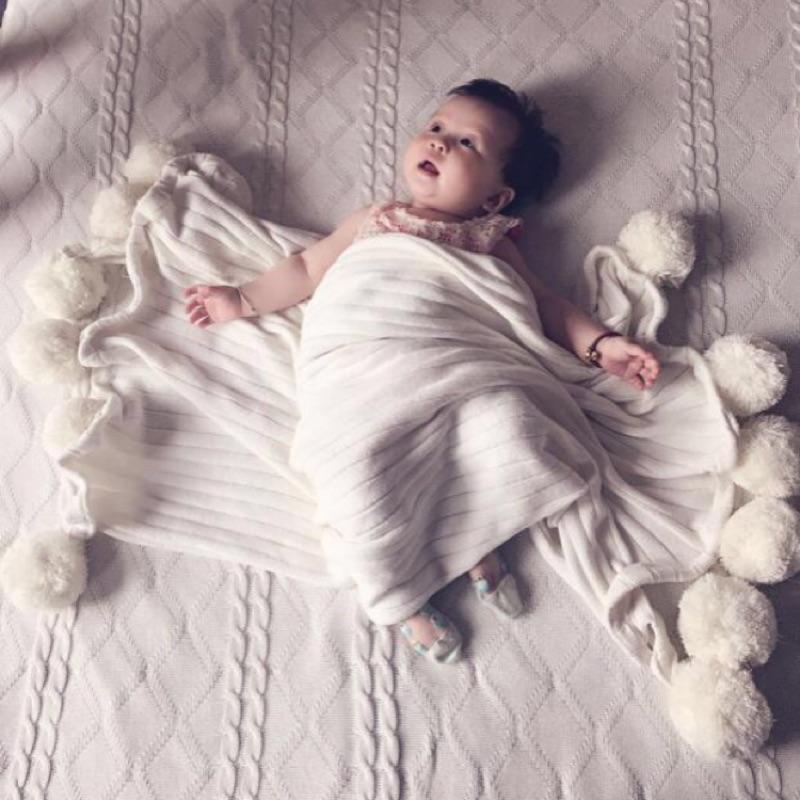 Ins 針織毛球球寶寶蓋毯也有大尺寸