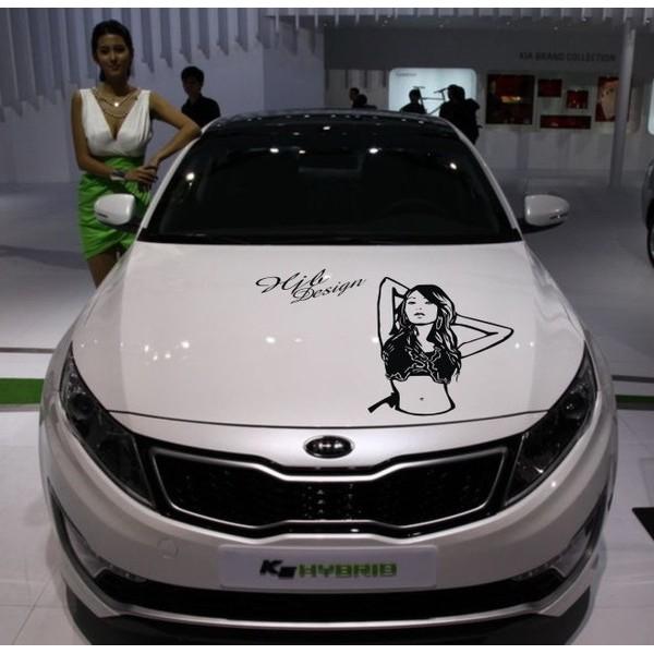 汽車貼紙 機蓋貼美女圖簽名車貼引擎蓋貼後備胎貼雕刻車貼