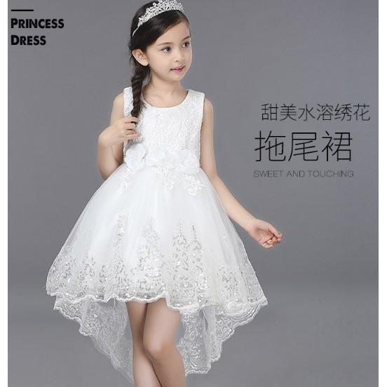 爆款女童連衣裙兒童拖尾禮服花童公主裙TS68089