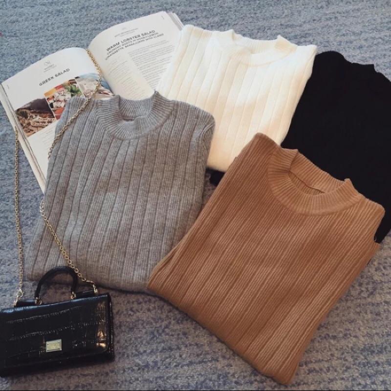 長袖針織衫女套頭緊身顯瘦純色毛衣