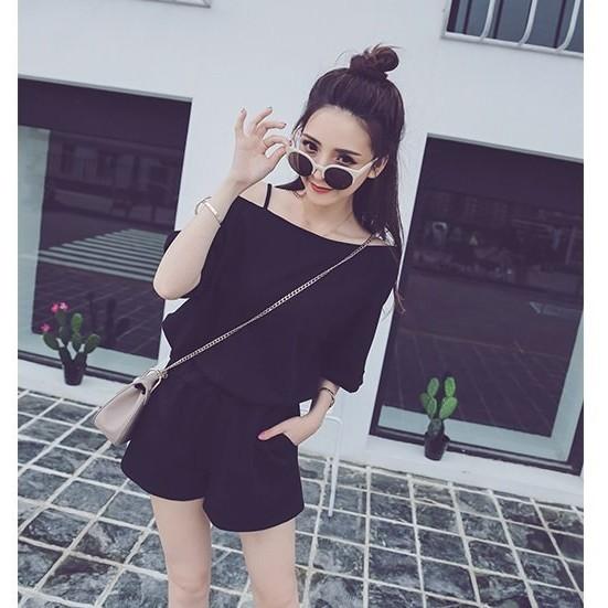 ~尤路路~~YY9166 ~ 露肩棉質休閒短褲2 件式套裝洋裝夜店性感可愛OL 甜美氣質騷