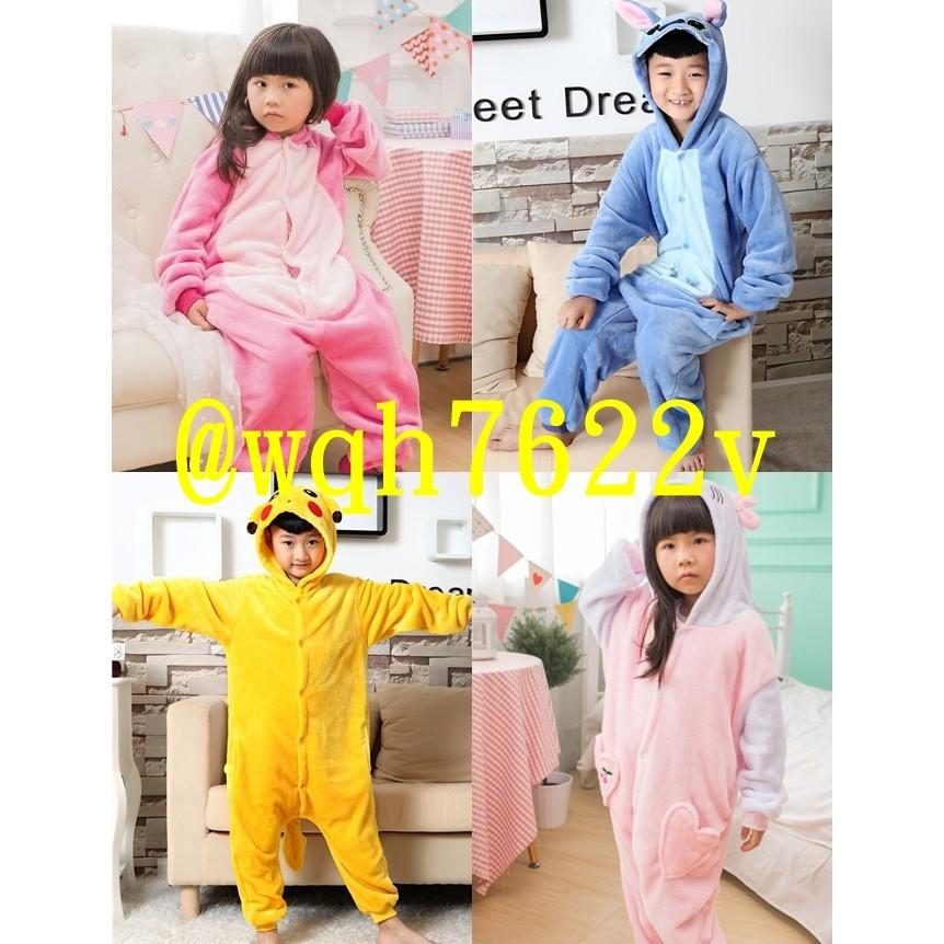 王✨法蘭絨卡通動物連身睡衣親子情侶派對活動表演 兒童睡袋動漫連身衣史迪奇kitty 皮卡丘