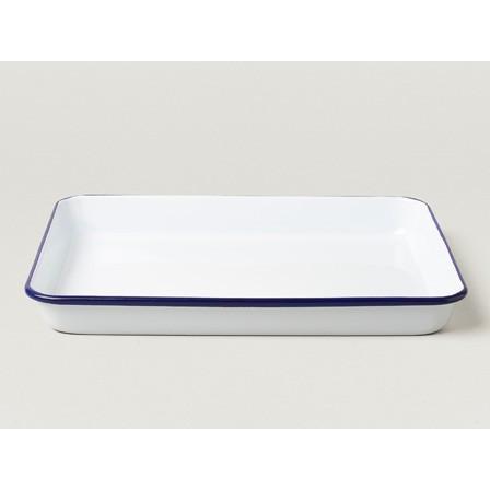 小木屋英國百年FALCON 獵鷹琺瑯淺托盤Serving Tray 一件 藍白