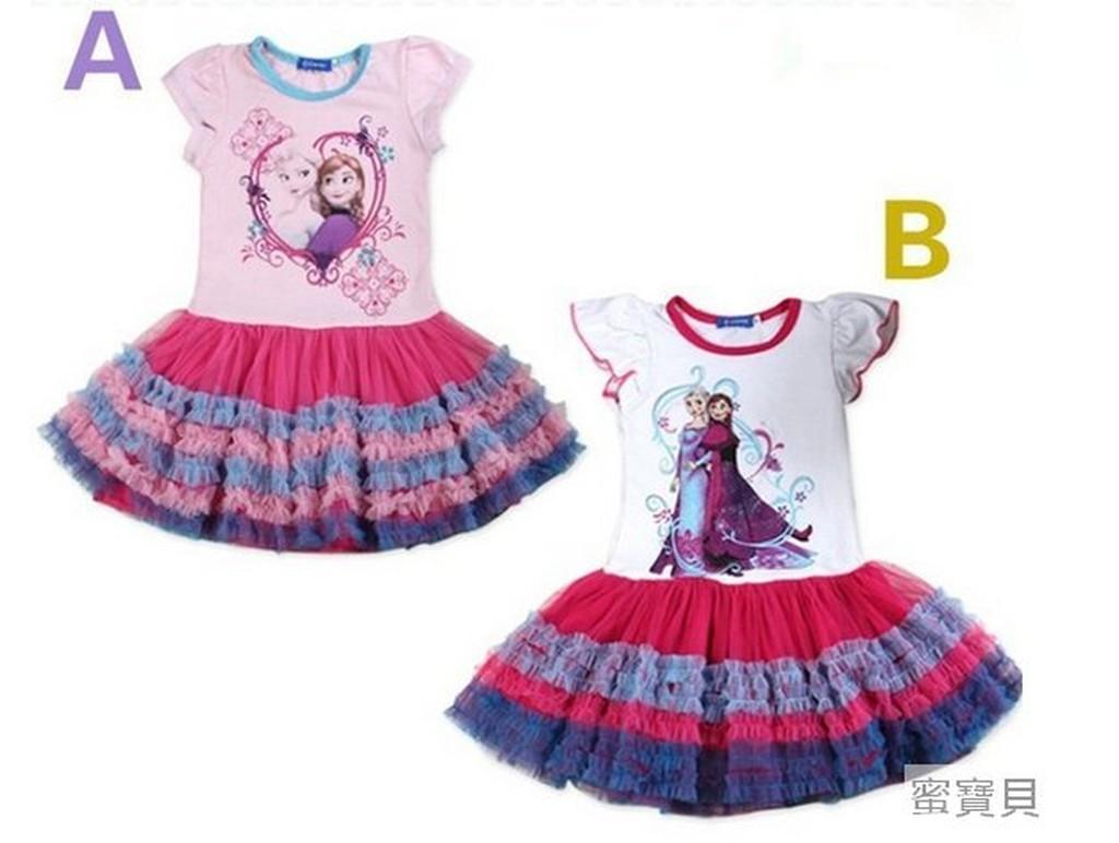 85 ~蜜寶貝~   冰雪奇緣女童公主紗裙女孩 外貿服裝直銷連衣裙裝洋裝0019