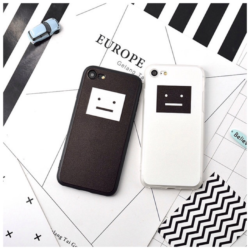 iphone6 6plus 簡約笑臉蠶絲紋手機殼方塊笑臉iphone6s 軟邊蠶絲紋笑臉