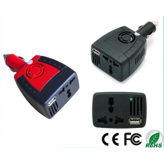 ~150W 車載逆變器12V 轉110V ~車載電源轉換器車載充 帶USB 介面多 插座萬